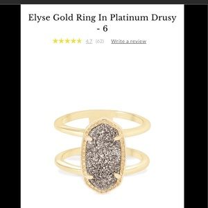 🆕Kendra Scott platinum signature Elyse ring sz6